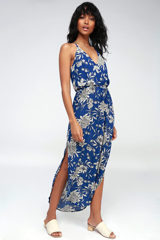 what to wear on a date blue print dress