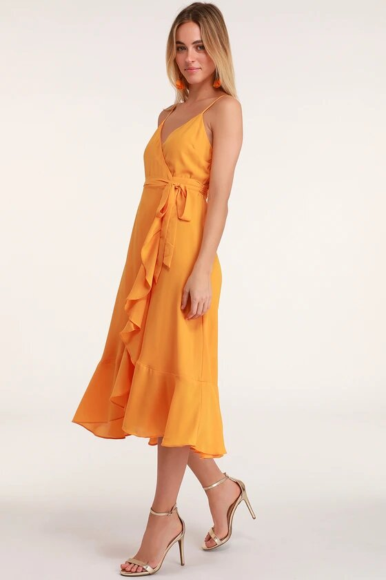what to wear on a first date bright orange dress
