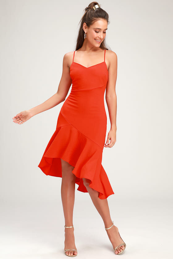 what to wear on a date red high low knee-length dress