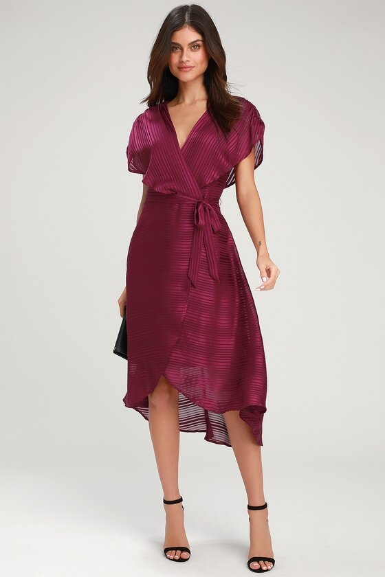 what to wear on a date plum high low dress