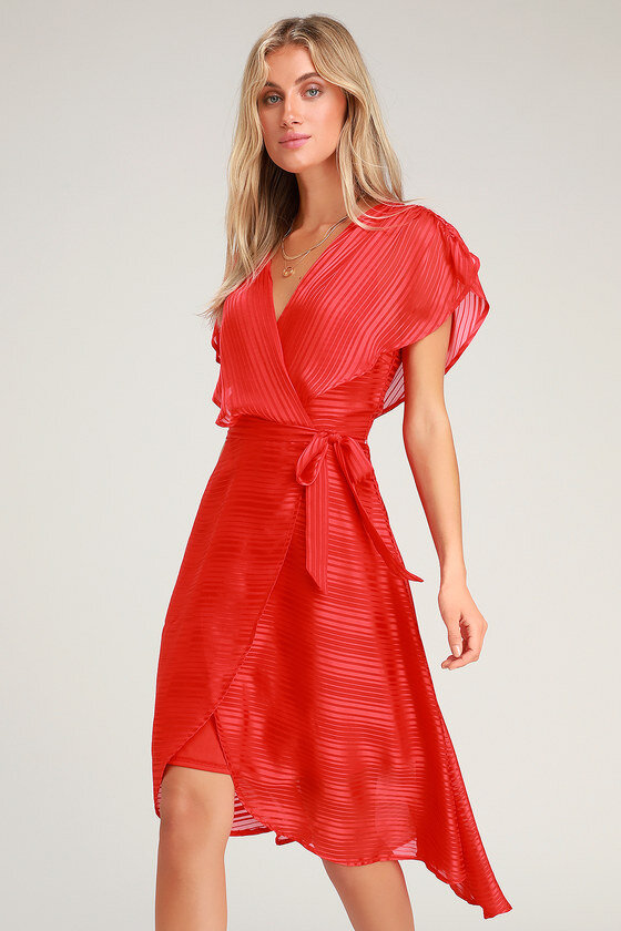 what to wear on a date red high-low dress